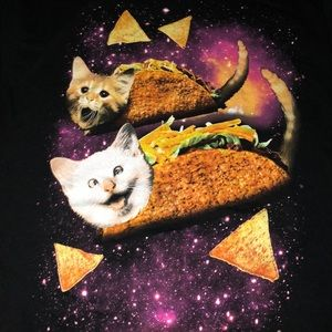 Funny outer space cat tacos T-shirt